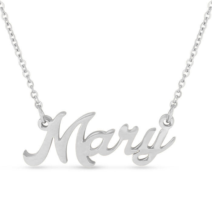 Mary Nameplate Necklace in Silver, 16 Inch Chain by SuperJeweler