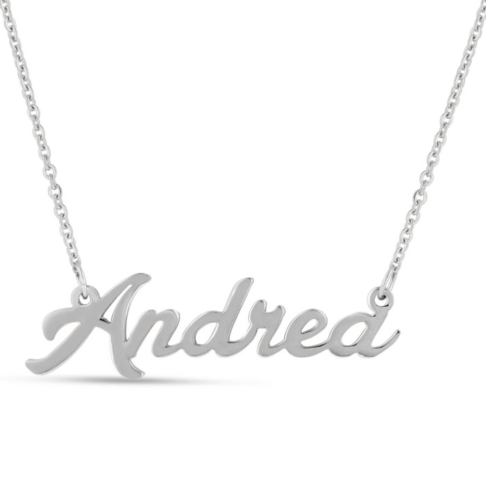 Andrea Nameplate Necklace in Silver, 16 Inch Chain by SuperJeweler
