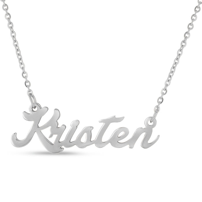 Kristen Nameplate Necklace in Silver, 16 Inch Chain by SuperJewel