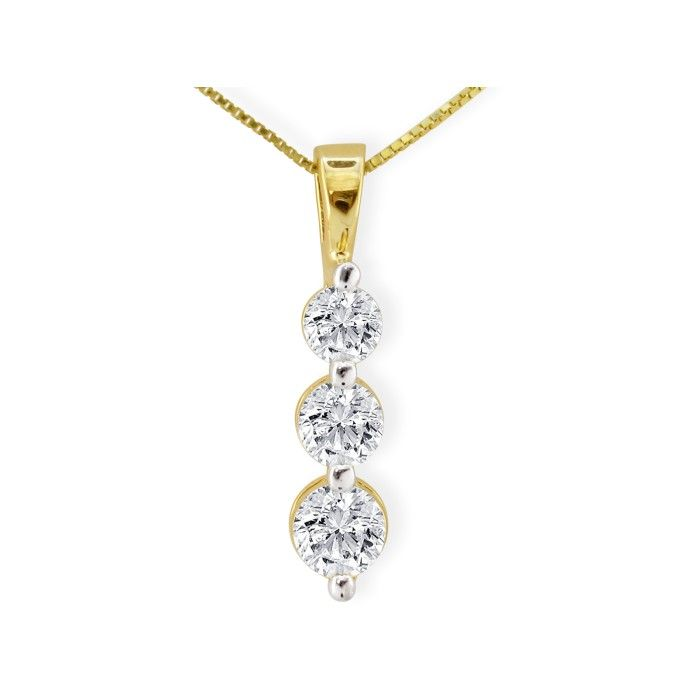 1 Carat Three Diamond Drop Style Diamond Pendant Necklace in 14k