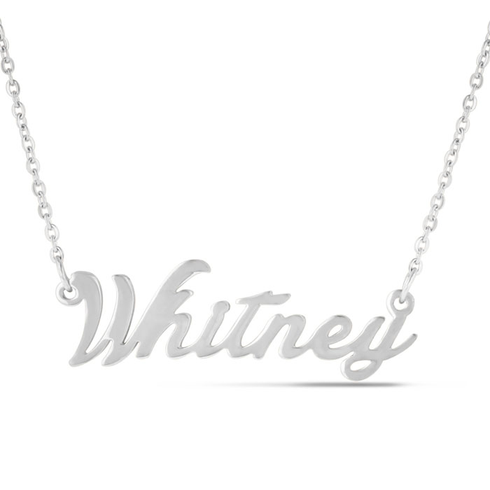 Whitney Nameplate Necklace in Silver, 16 Inch Chain by SuperJeweler