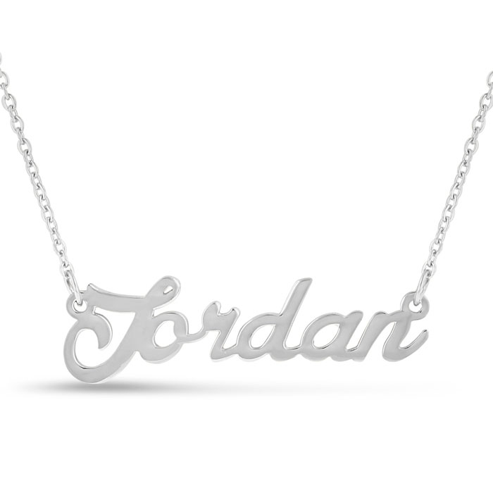 Jordan Nameplate Necklace in Silver, 16 Inch Chain by SuperJewele