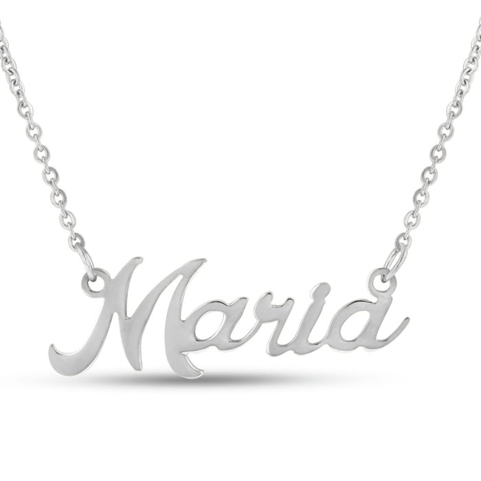 Maria Nameplate Necklace in Silver, 16 Inch Chain by SuperJeweler