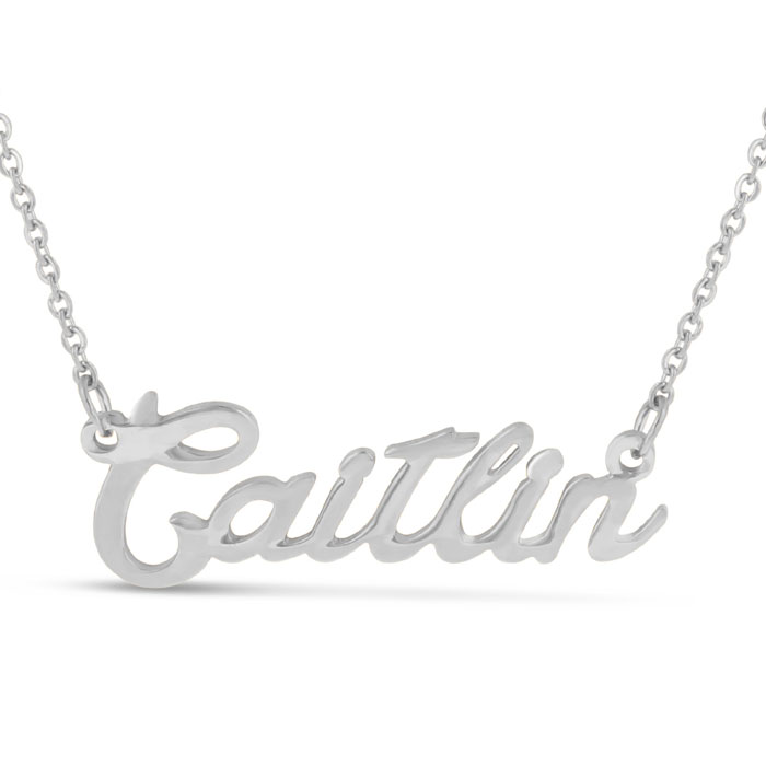 Caitlin Nameplate Necklace in Silver, 16 Inch Chain by SuperJeweler