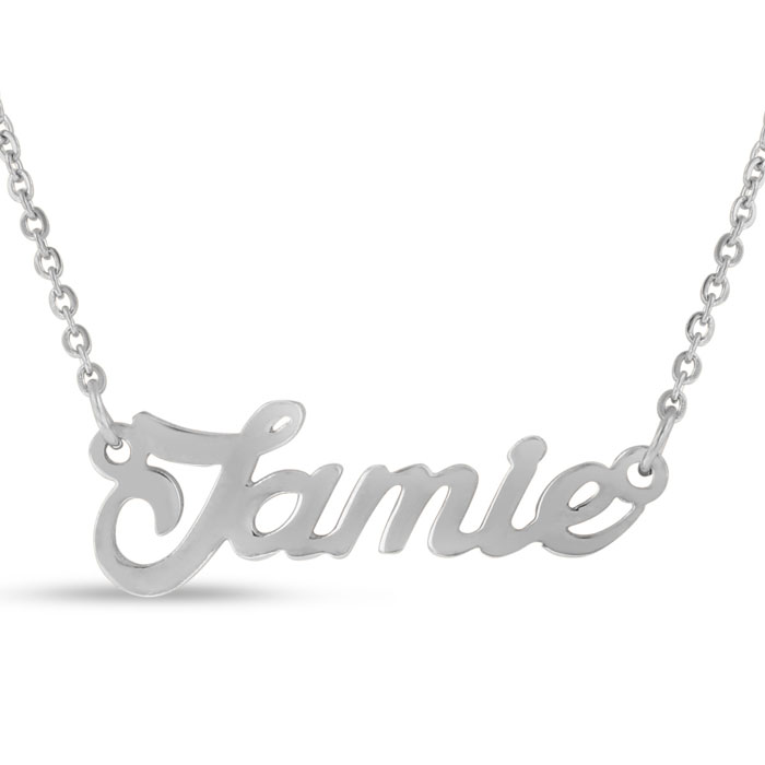 Jamie Nameplate Necklace in Silver, 16 Inch Chain by SuperJeweler