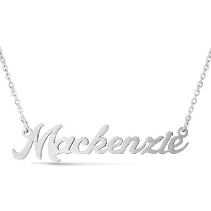 Mackenzie Nameplate Necklace in Silver, 16 Inch Chain by SuperJew