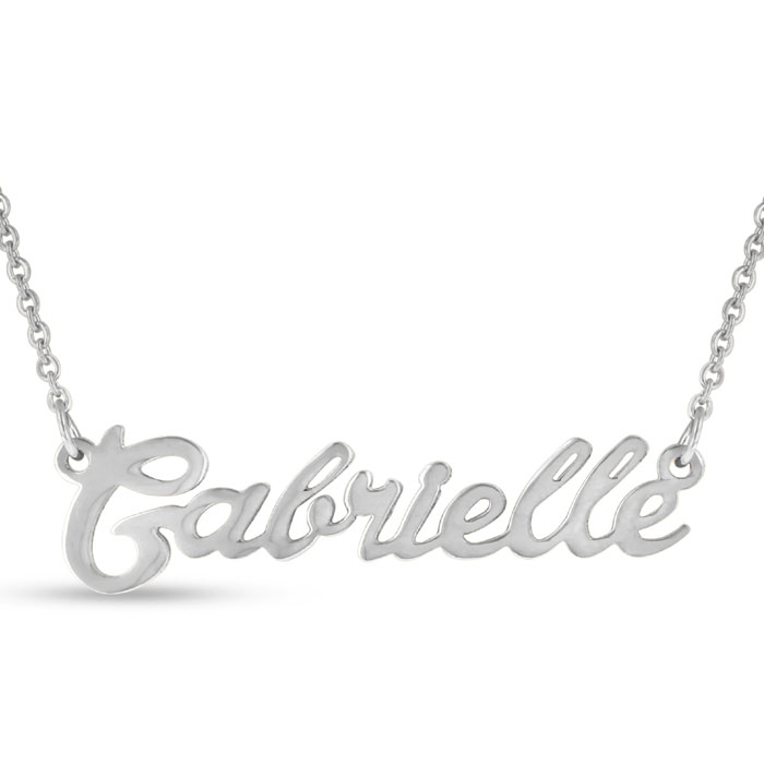 Gabrielle Nameplate Necklace in Silver, 16 Inch Chain by SuperJew