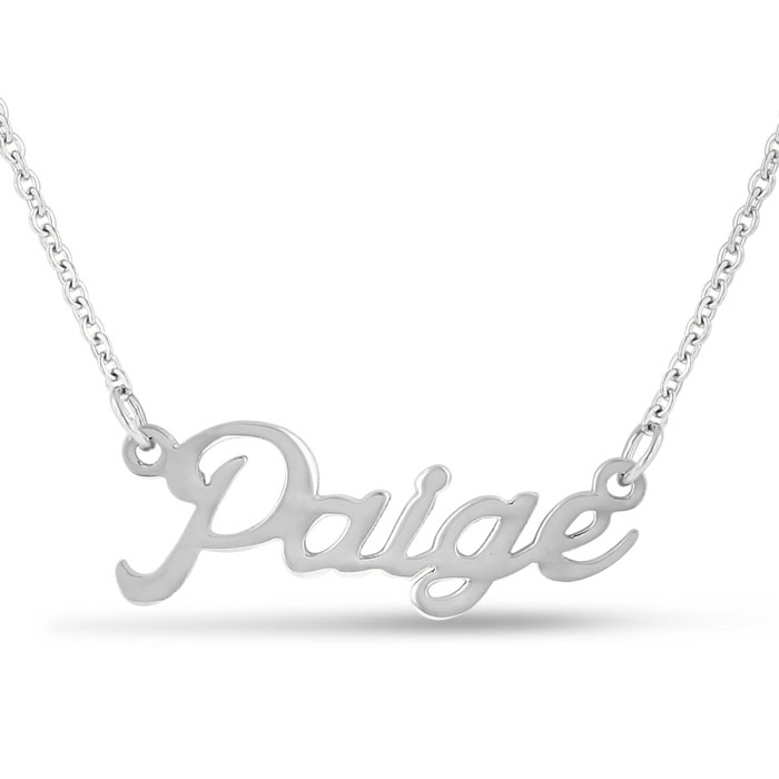 Paige Nameplate Necklace in Silver, 16 Inch Chain by SuperJeweler