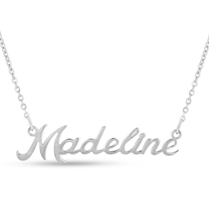 Madeline Nameplate Necklace in Silver, 16 Inch Chain by SuperJewe