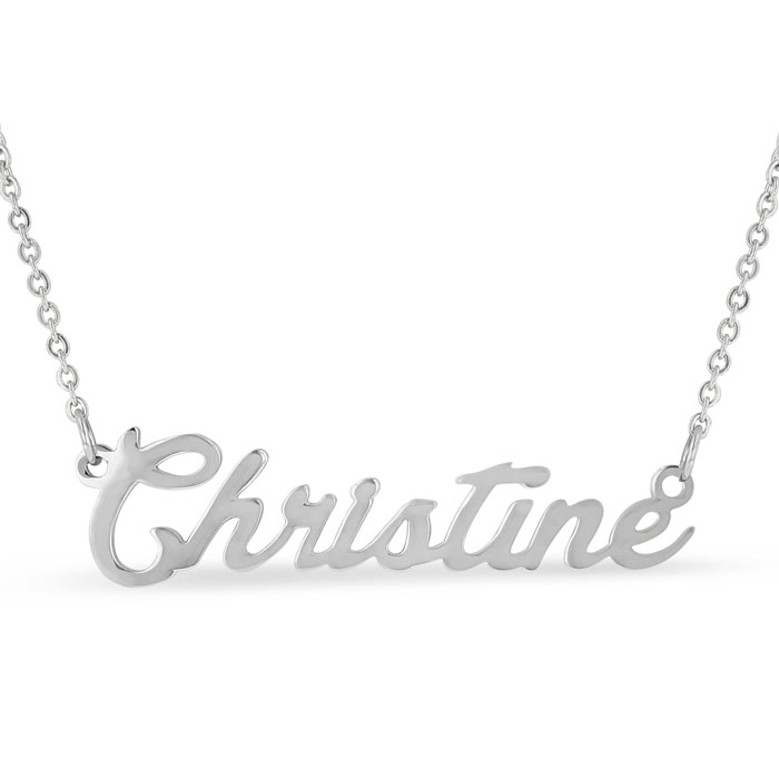 Christine Nameplate Necklace in Silver, 16 Inch Chain by SuperJew