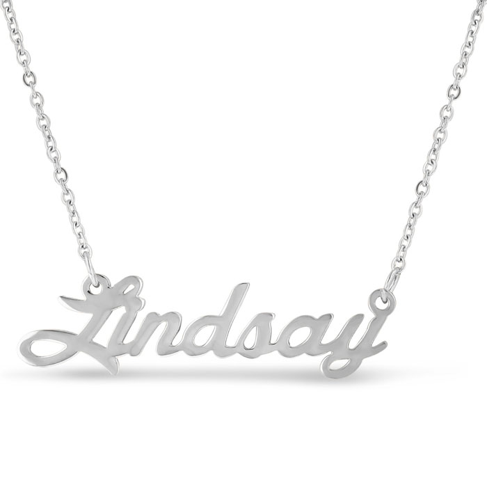 Lindsay Nameplate Necklace in Silver, 16 Inch Chain by SuperJewel