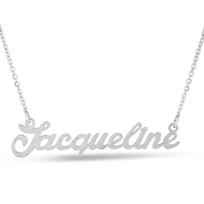 Jacqueline Nameplate Necklace in Silver, 16 Inch Chain by SuperJe
