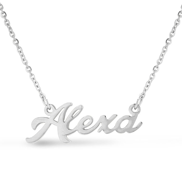 Alexa Nameplate Necklace in Silver, 16 Inch Chain by SuperJeweler