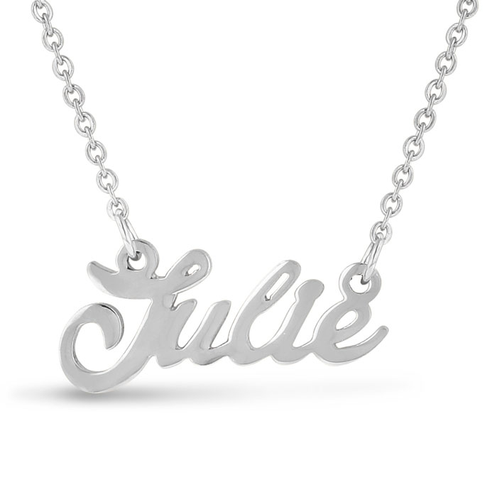 Julie Nameplate Necklace in Silver, 16 Inch Chain by SuperJeweler