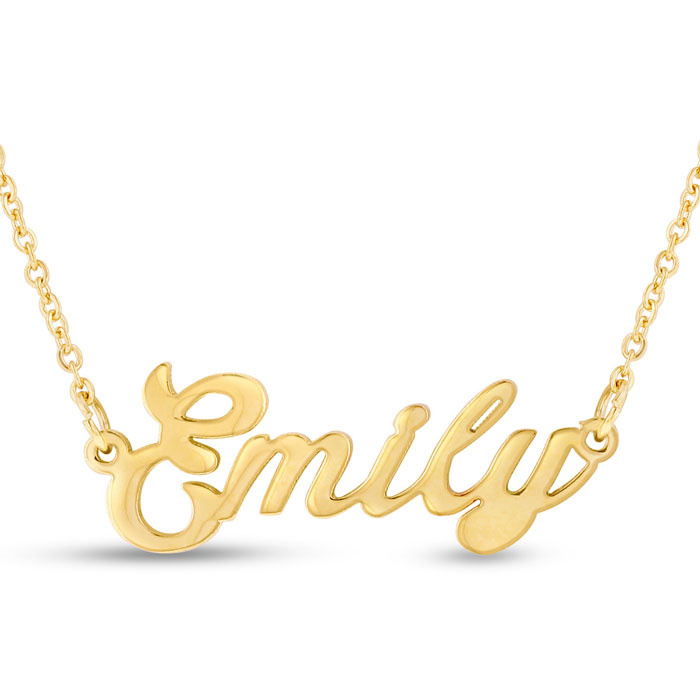Emily Nameplate Necklace in Gold, 16 Inch Chain by SuperJeweler