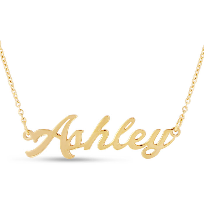 pendant necklace script gold chain with yellow love
