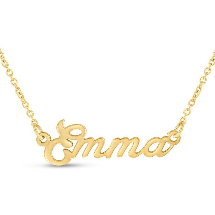 Emma Nameplate Necklace in Gold, 16 Inch Chain by SuperJeweler