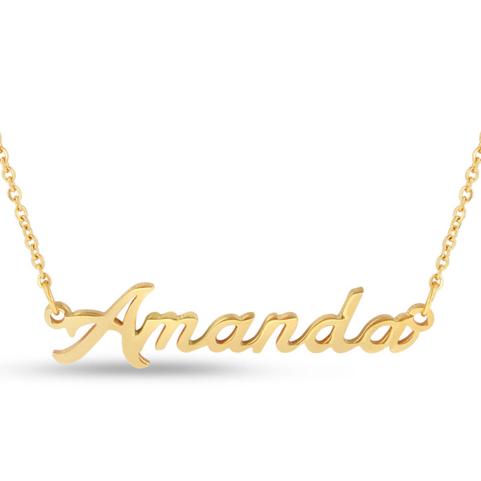 Amanda Nameplate Necklace in Gold, 16 Inch Chain by SuperJeweler