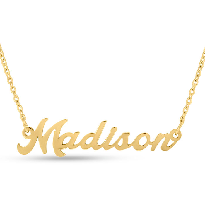 Madison Nameplate Necklace in Gold, 16 Inch Chain by SuperJeweler