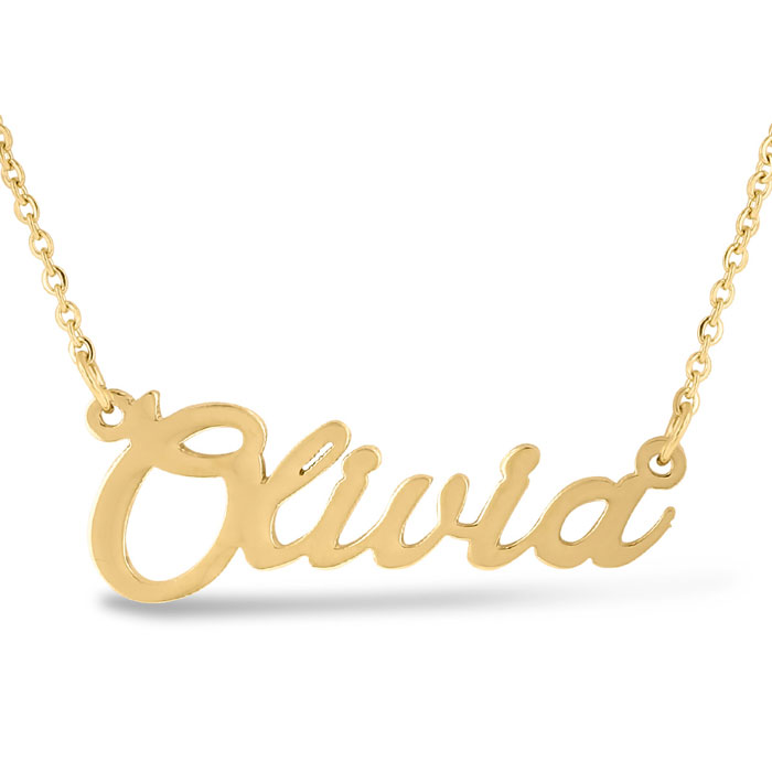 Olivia Nameplate Necklace in Gold, 16 Inch Chain by SuperJeweler