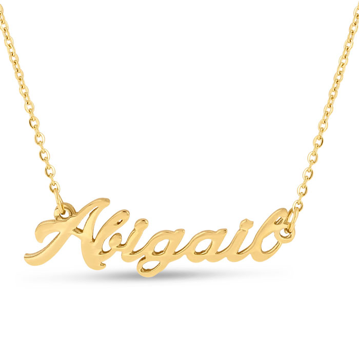 Abigail Nameplate Necklace in Gold, 16 Inch Chain by SuperJeweler