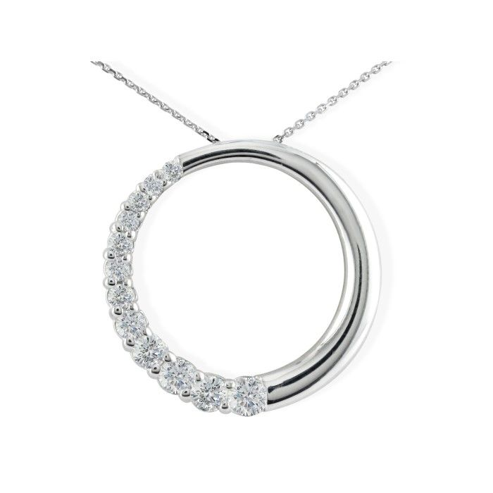 1/4 Carat Circle Style Journey Diamond Pendant Necklace, 14k Whit