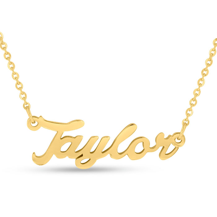 Taylor Nameplate Necklace in Gold, 16 Inch Chain by SuperJeweler
