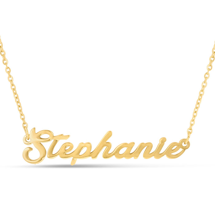 Stephanie Nameplate Necklace in Gold, 16 Inch Chain by SuperJewel