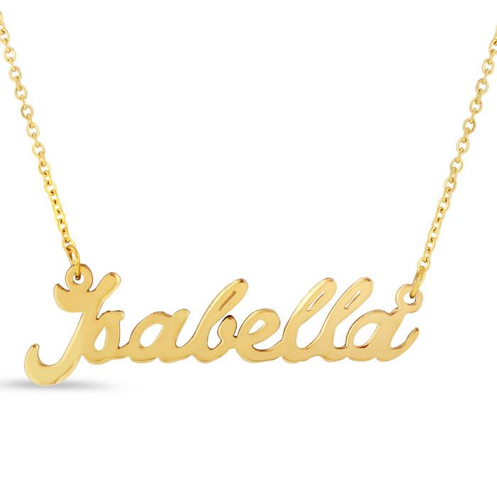 53f493e3d2d07 Isabella Nameplate Necklace In Gold   SuperJeweler.com