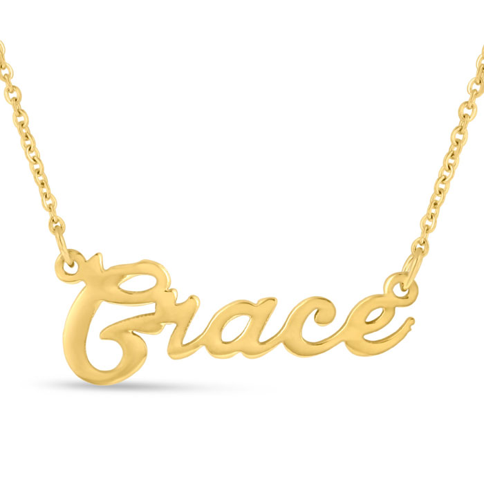 Grace Nameplate Necklace in Gold, 16 Inch Chain by SuperJeweler