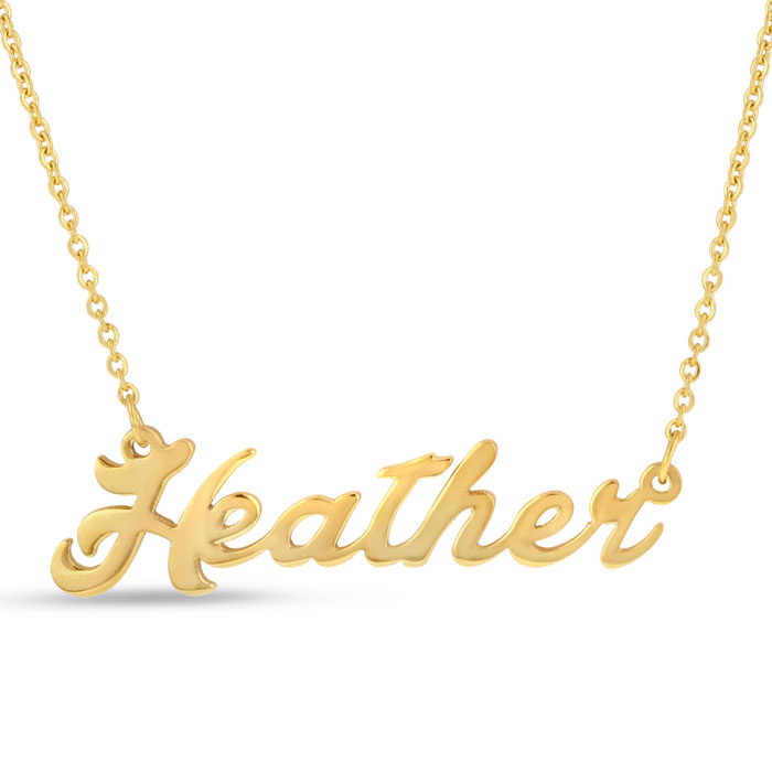 Heather Nameplate Necklace in Gold, 16 Inch Chain by SuperJeweler