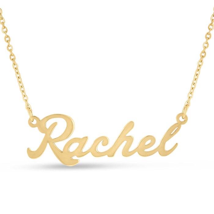 Rachel Nameplate Necklace In Gold | SuperJeweler.com