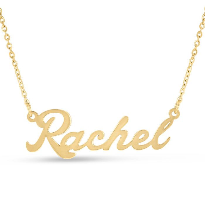 Rachel Nameplate Necklace in Gold, 16 Inch Chain by SuperJeweler