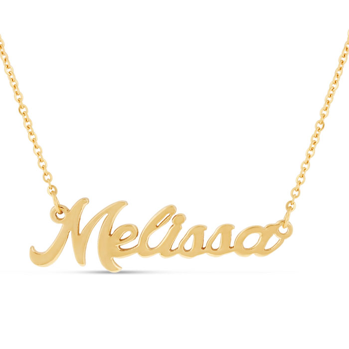 Melissa Nameplate Necklace in Gold, 16 Inch Chain by SuperJeweler
