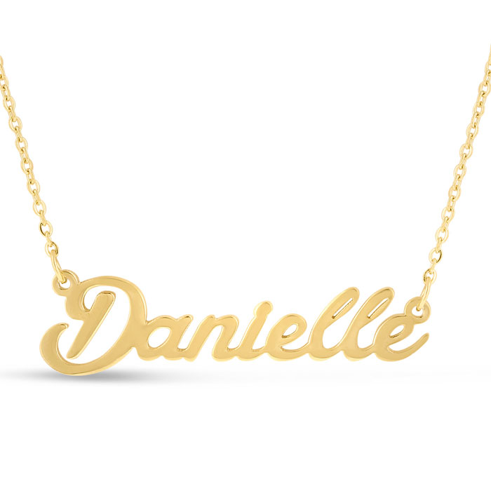 Danielle Nameplate Necklace in Gold, 16 Inch Chain by SuperJewele