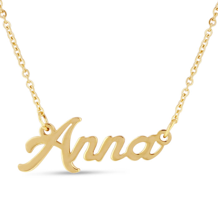 Anna Nameplate Necklace in Gold, 16 Inch Chain by SuperJeweler