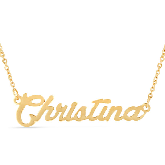 Christina Nameplate Necklace in Gold, 16 Inch Chain by SuperJeweler