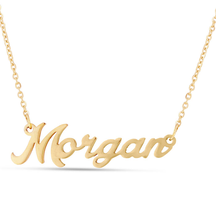 Morgan Nameplate Necklace in Gold, 16 Inch Chain by SuperJeweler