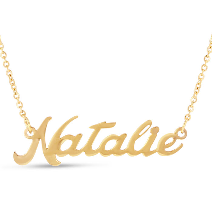 Natalie Nameplate Necklace in Gold, 16 Inch Chain by SuperJeweler
