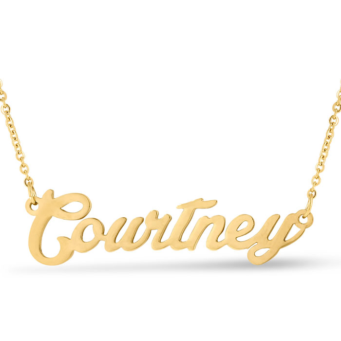 Courtney Nameplate Necklace in Gold, 16 Inch Chain by SuperJewele