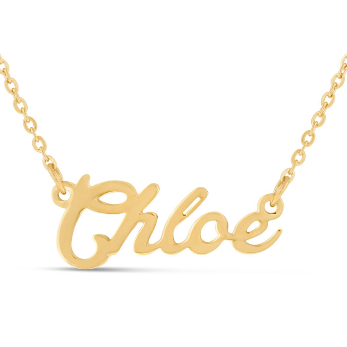 Chloe Nameplate Necklace in Gold, 16 Inch Chain by SuperJeweler