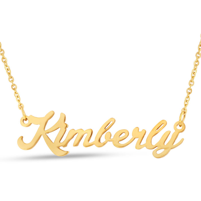 Kimberly Nameplate Necklace in Gold, 16 Inch Chain by SuperJewele