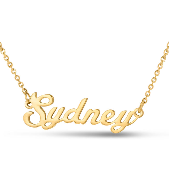 Sydney Nameplate Necklace in Gold, 16 Inch Chain by SuperJeweler