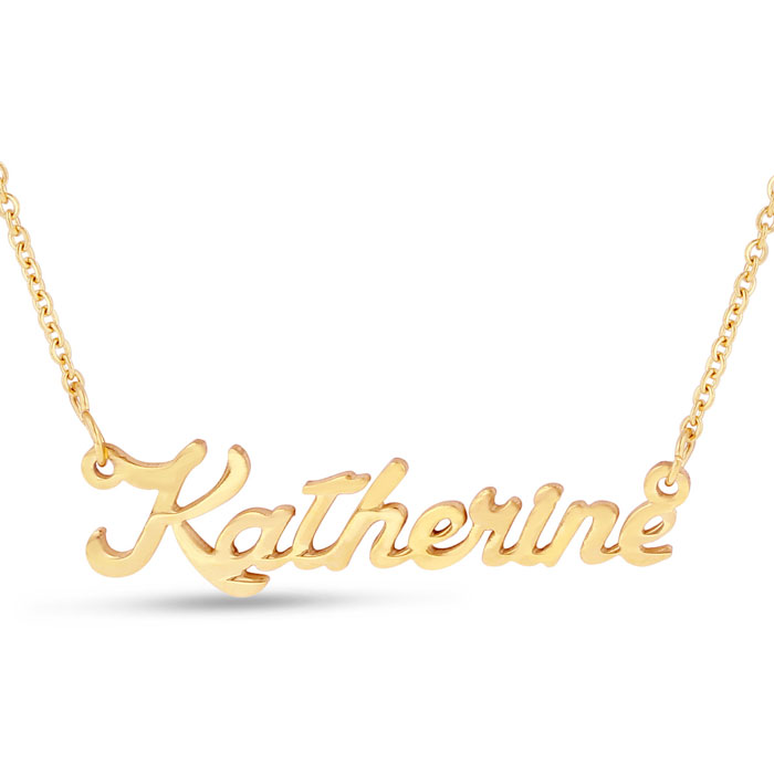 Katherine Nameplate Necklace in Gold, 16 Inch Chain by SuperJewel