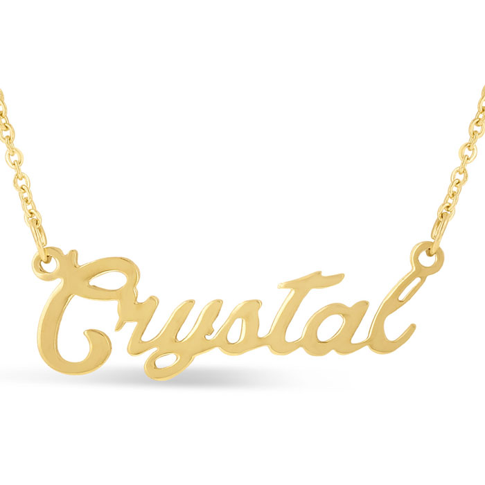 Crystal Nameplate Necklace in Gold, 16 Inch Chain by SuperJeweler