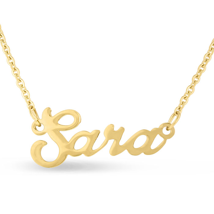 Sara Nameplate Necklace in Gold, 16 Inch Chain by SuperJeweler