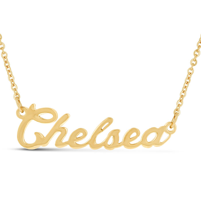 Chelsea Nameplate Necklace in Gold, 16 Inch Chain by SuperJeweler