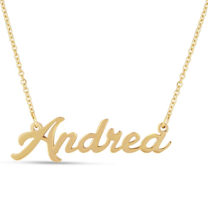 Andrea Nameplate Necklace In Gold | SuperJeweler.com