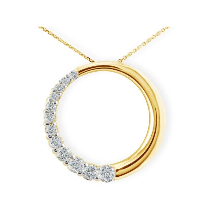 3/4 Carat Circle Style Journey Diamond Pendant Necklace, 14k Yell