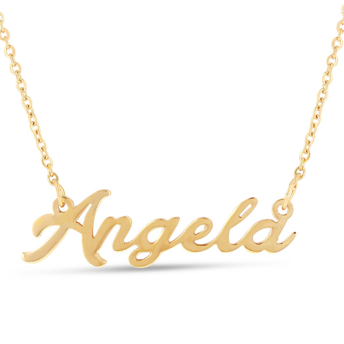 Angela Nameplate Necklace in Gold, 16 Inch Chain by SuperJeweler
